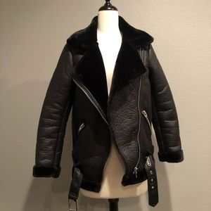 H&M Oversized Faux Fur Lined Moto Jacket